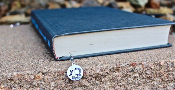 Heart Coffee and Books Bookmark, Hand-Stamped Bookmark