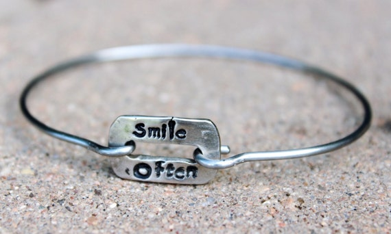 Smile Often Mantra Bangle Bracelet / Mantra Bangle Bracelet / Smile Often / Charm Bangle  / Gift for Friend / Mantra Bangle Bracelet / Smile