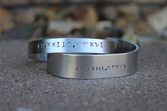 His and Her's Cuff Bracelets with Roman Numeral Date - Wedding Date or Date of Baby - Gift for Husband - Gift for Wife - Couple's Jewelry