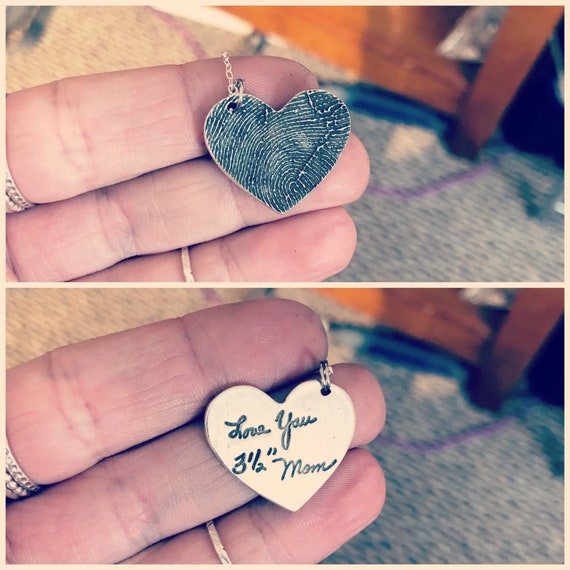 Fingerprint Heart Charm, Heart Shaped Fingerprint Charm, Fingerprint Charm Created from Image of Fingerprint, Heart Shaped Sterling Silver