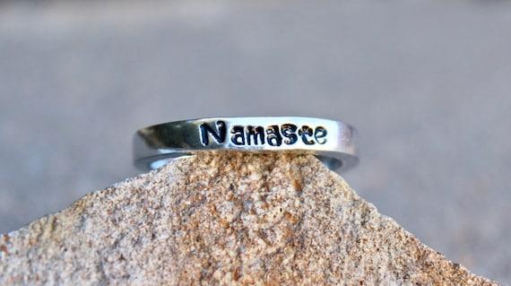 Namaste ring, Adjustable Ring, Yoga inspired ring, Stackable Ring, Namaste Yoga Ring, Inspirational Jewelry, Yoga Jewelry, rings namaste