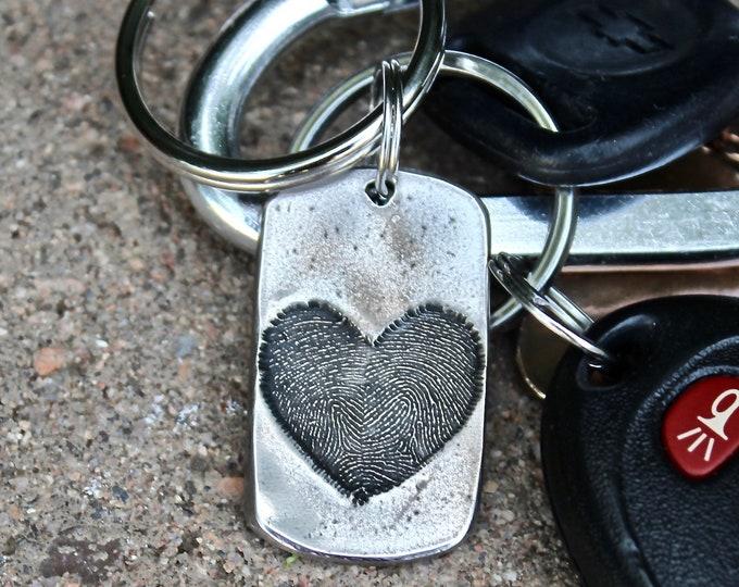 Fingerprint Keychain, Two Fingerprints Heart Keychain, Heart Fingerprint Key chain, Memorial, Two Fingerprints Keychain, Child's Fingerprint