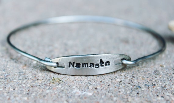 Namaste Bangle Bracelet, Mantra Bangle Bracelet, Namaste Yoga Bangle, Charm Mantra Bangle Bracelet, Gift for Yoga Teacher, Mantra Bangle