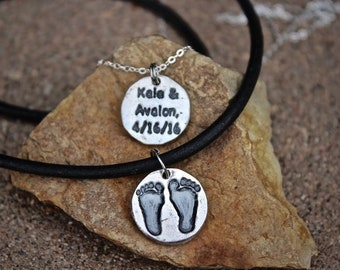 Father's Day Gift, Footprint Charm, Footprint Necklace, Real footprints, Baby Footprints, New Baby Gift, Gift for Dad, Gift for New Dad