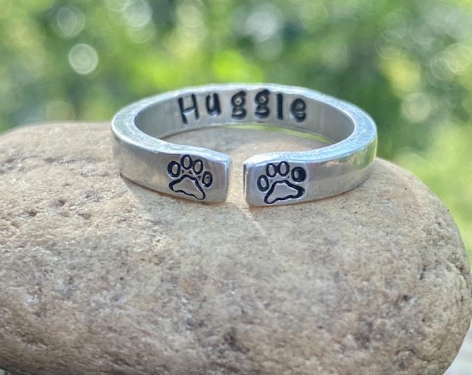 Dog Name Ring, Paw Prints, Adjustable Ring, Pet Name Rings, Dog Name Stamped with Paw Prints, Dog Name Rings, Cat Name Rings, Paw Print Name