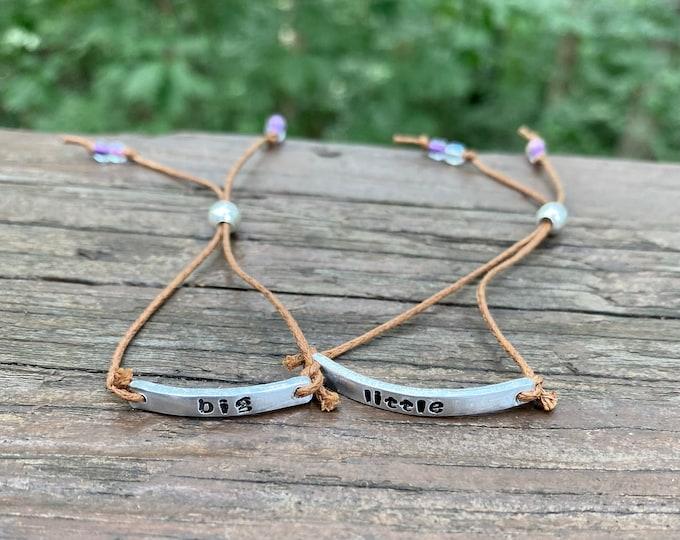 Big Little Sister Bracelets, Choice of 2 Bracelets, Adjustable and lightweight Big Little Bracelets, Sisters Jewelry Big Little Sisters Gift