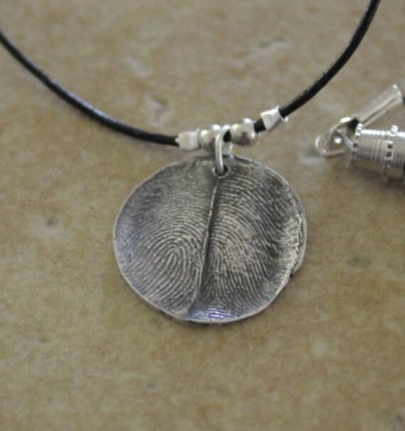 Couple Necklace, Fingerprint Necklace, Two Fingerprints Necklace, Fingerprint Charm, Memorial Jewelry, Custom Fingerprint Charm, Fingerprint