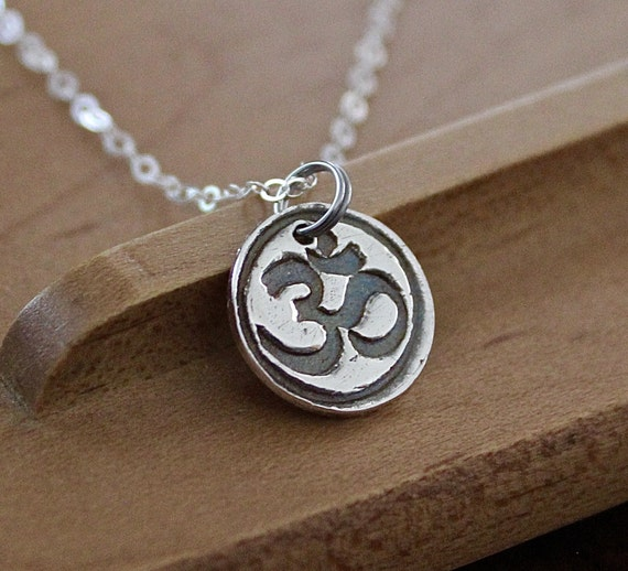 "Aum Silver Necklace - Om Pure Silver Charm - Yoga Meditation Necklace -16"" Sterling Silver Chain Buddhism Hinduism Mantra Necklace - Dharmic"