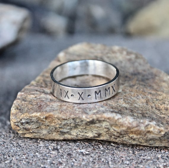 Men's Roman Numeral Date Ring, Sterling Silver Roman Numeral Date Ring, Anniversary Ring for Men, Men's Anniversary Ring, Gift for Husband
