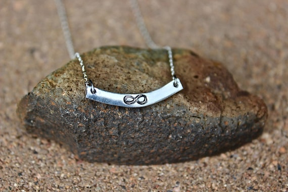 Infinity Silver Curved Bar Necklace, Bridesmaid Necklace, Curved Bar Necklace, Bridesmaids Bar Necklace, Infinity Necklace, Silver Bar chain