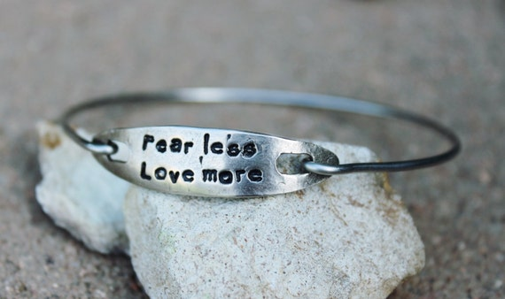Fear Less Love More Bangle Bracelet / Mantra Bangle Bracelet / Fear Less Love More / Charm Bangle  / Gift for Girlfriend / White Copper