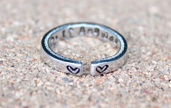 Do it Anyway Mantra Ring, Stackable adjustable ring, Do it anyway, Motivational Ring, Stacking Ring, Feminist Mantra Ring Do it Anyway Heart