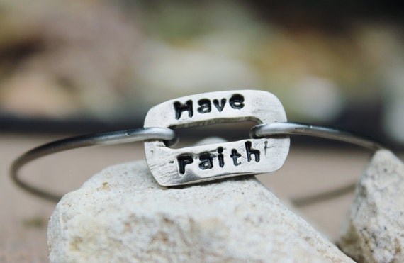 Have Faith Mantra Bangle Bracelet Hand Stamped Gift for her, inspirational jewelry, inspirational gift, White Copper, Bangle with Charms