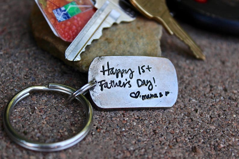 Fathers Day Gift handwriting keychain dad pressed into image 0