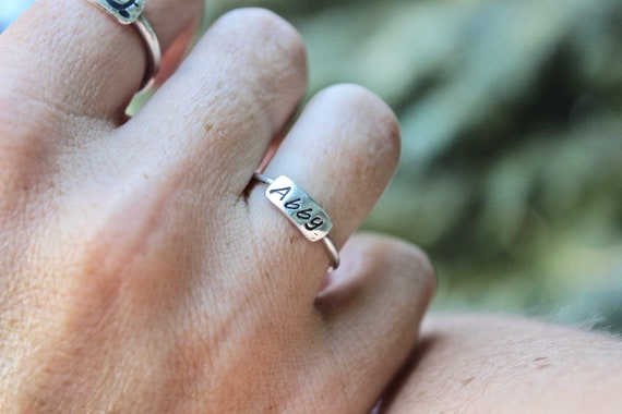 Sterling Silver Stackable Name Rings, Perfect gift for Mom or Friends