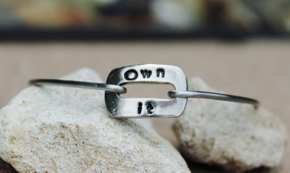 Own It Mantra Bangle Bracelet Hand Stamped Gift for her, Motivational Jewelry, inspirational gift, White Copper Bangle Bracelet with Charms