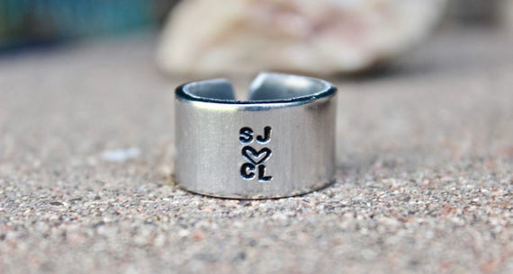 Boho Wide Initials Ring