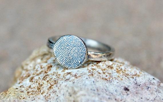 Fingerprint Ring, Memorial Fingerprint Jewelry, Memorial Fingerprint Ring, Memorial Ring, Real Fingerprint Ring, Sterling Silver Fingerprint