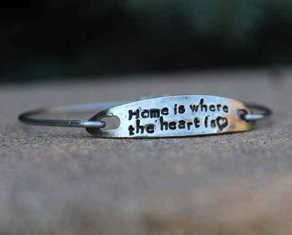 Home is where the heart is, Hand Stamped Bangle Bracelet, Gift for Military Wife, inspirational jewelry, Jewelry for Army Wife, White Copper
