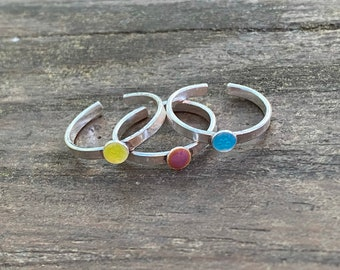 Toe Ring with Blue Enamel, Drop of Color Toe Ring, Sterling Silver Toe Ring, Blue Enamel Toe Ring, Sterling Silver Toe Ring, Handmade