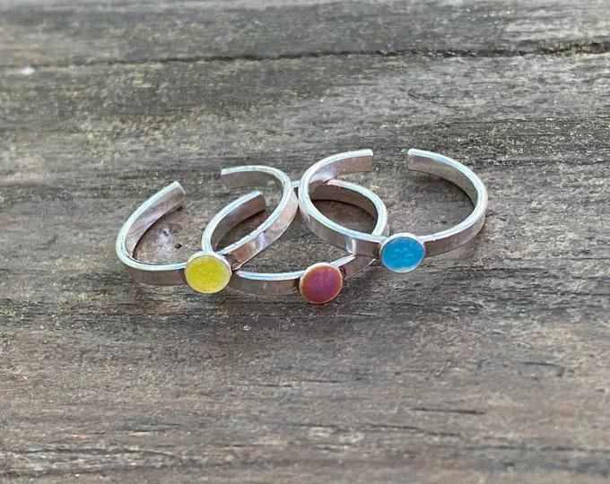 Toe Ring with Blue Enamel