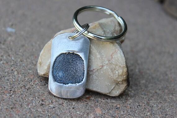 Fingerprint Keychain, Fingerprint is Pressed into the Metal, Single Fingerprint on a Keychain, Created from Image of Fingerprint, Memorial