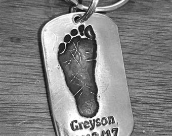 Real Footprint Keychain, Personalized Footprint Keychain, Real Footprint Keychain, Footprint Keepsake, Father's Day Gift, baby Footprint