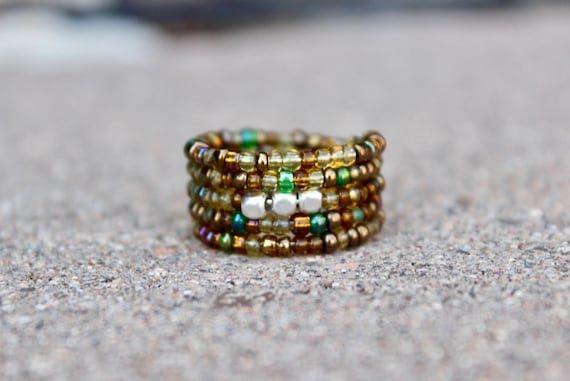 Boho Earth Ring, Green Glass Beaded Wrap Ring, Adjustable Boho Ring, Sterling Silver Bead Ring, Hippie Jewelry, Hippie Ring, Earth Tone Ring