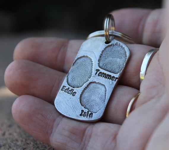 Child Fingerprint Keychain, Father's Day Gift, Kids Fingerprint Key chain, Gift for Dad Keychain, Gift for Grandfather, Children Fingerprint