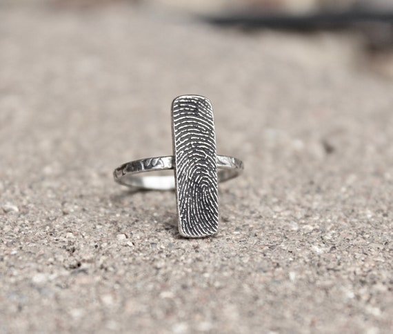 Rectangular Fingerprint Ring in Sterling Silver with Textured Ring Band