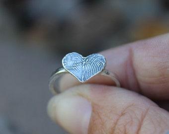 Fingerprint Ring, Two FingerPrints, Couples Jewelry, Couples Ring, Two Fingerprint Heart, Fingerprint Jewelry, Fingerprint Rings, Ink Print