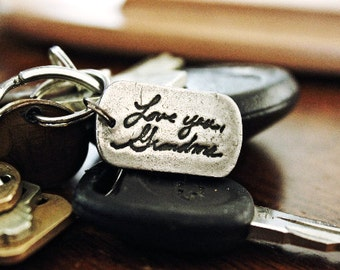 Handwriting Keychain, Real Handwriting Keychain gift, deep high quality, Actual Handwriting keychain, gift for husband, gift for father