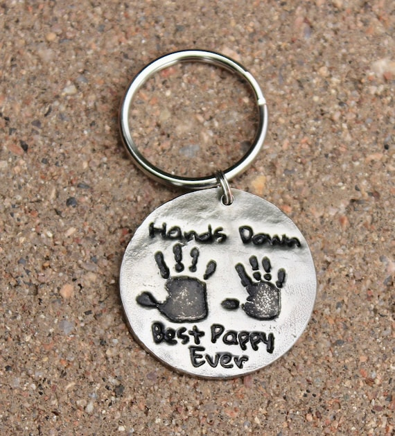 Gift for Grandfather, Real Handprint Keychain, Gift for Pappy, Gift for Grandpa, Hands Down Best Pappy Ever, real handprints, Best Pappy