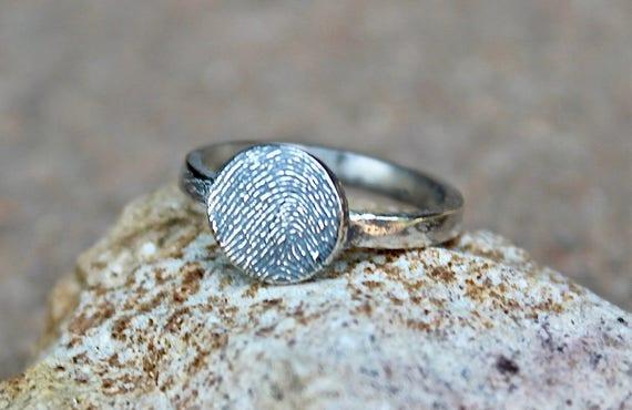 Fingerprint Ring, Circle Finger Print Jewellery, Image of Finger Jewelry, Memorial Ring, Real Fingerprint Ring, Sterling Silver Fingerprint