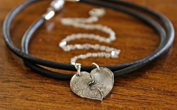 Fingerprint Heart Puzzle Necklaces, Two Fingerprint Charms Couples Necklaces, Sterling Silver Fingerprint Puzzle, Couple Jewelry Fingerprint