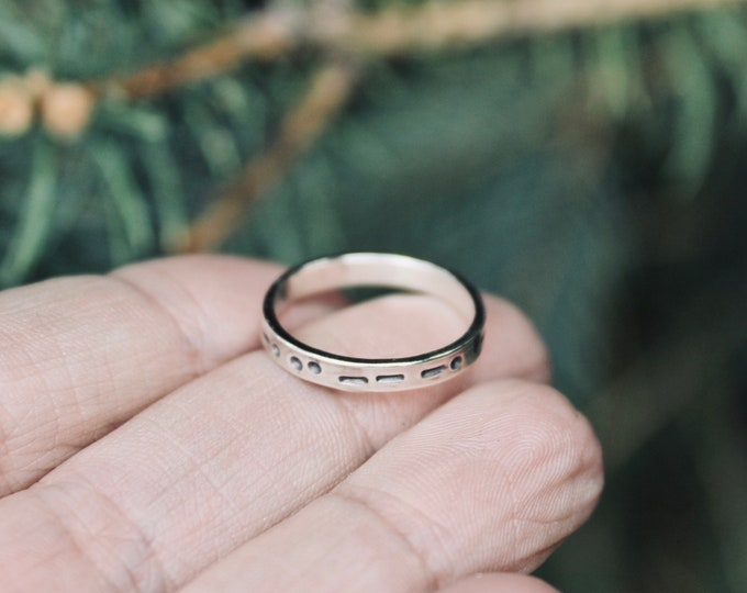 Family in Morse Code, Sterling Silver, The Word Family in Morse Code, Family Morse Code Ring Secret Message in Morse Code, Unisex Adult Ring