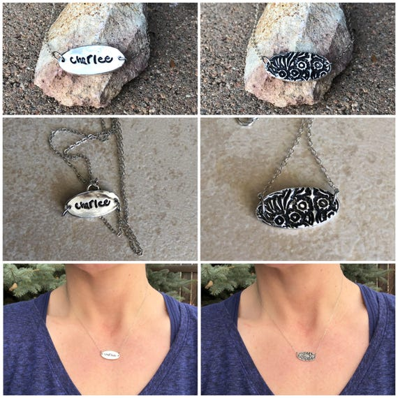 Handwriting Necklace, Solitary Handwriting Charm, Sterling Silver Handwriting Charm, Real Handwriting Necklace, Memorial Signature Necklace