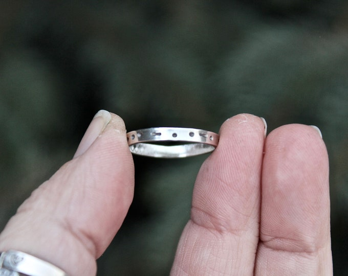 Sisters in Morse Code, Sister Ring, Word Sisters written in Morse Code, Morse Code Sister Ring, Morse Code Sisters Ring, Stackable Sterling