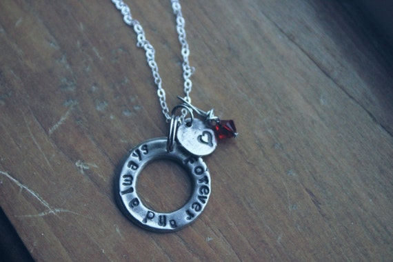 Forever and Always mixed charm necklace with birthstone of child and tiny heart charm-16 inch sterling chain