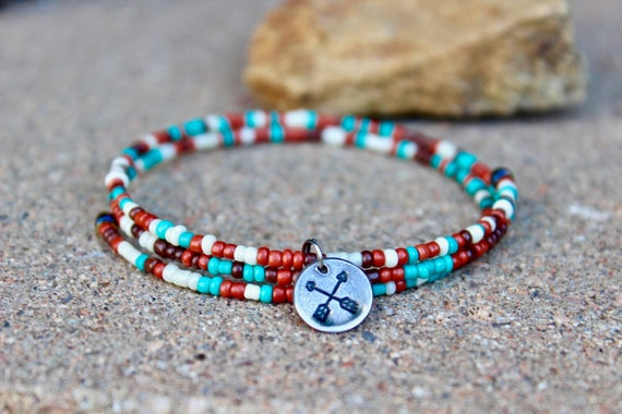 Southwestern Style Wrap Bangle with Arrows Charm