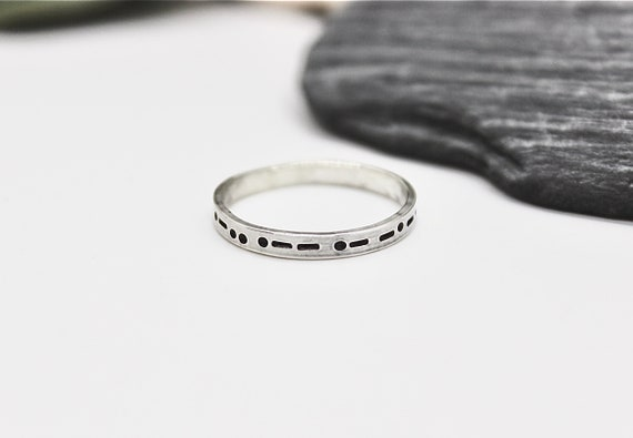 Always in Morse Code, Sterling Silver, The Word Always in Morse Code, Always Forever Morse Code Ring Secret Message in Morse Code, Unisex
