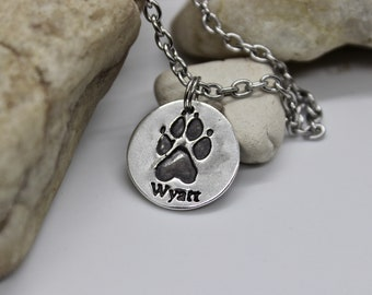 Paw print Necklace, Real Paw Print Charm Necklace, Sterling Silver Paw Print Charm, Real Paw Print Charm, PawPrint Charm, Sterling Silver
