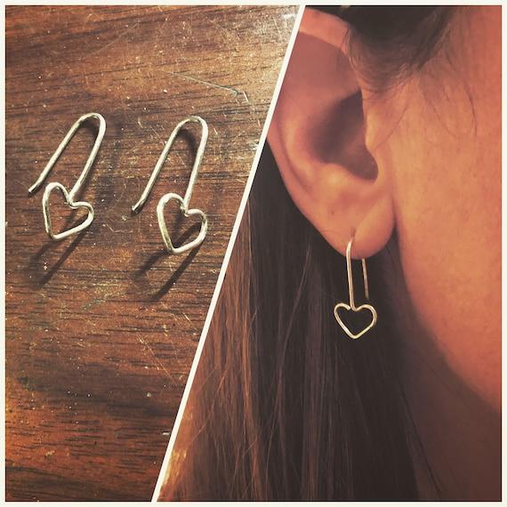 Heart Earrings, Sterling Silver Heart Earrings, Wire Wrapped Heart Earrings, Solid Sterling Silver Heart Earrings, Heart Jewelry, Heart Gift