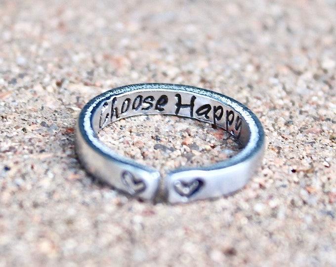 Choose Happy Mantra Ring