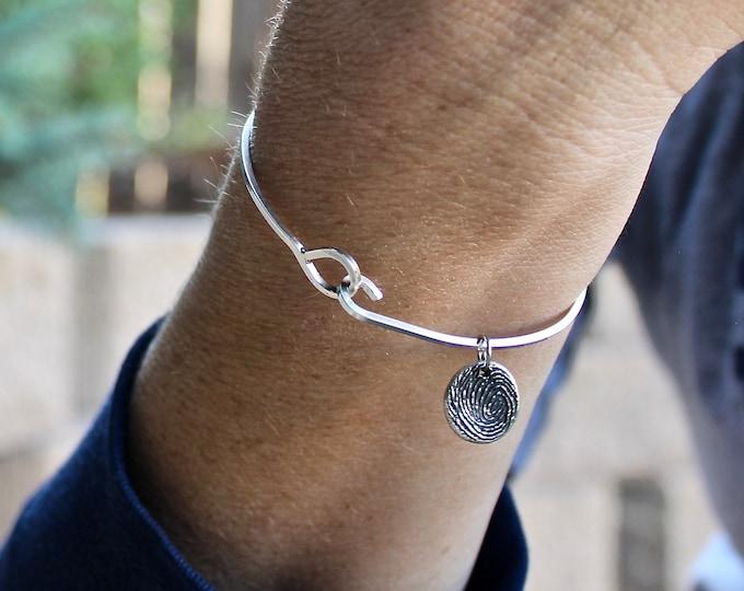 Fingerprint Bangle Bracelet, Fingerprint Charm Bracelet, Fingerprint Bangle Bracelet, Memorial Jewelry Fingerprint Charm, Finger Print Charm