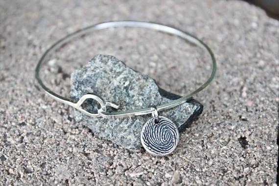 Sterling Silver Fingerprint Bangle Bracelet, Sterling Silver Bangle and Sterling Silver Fingerprint Charm, all Handmade in the USA