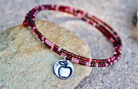 Apple Charm Beaded Bangle