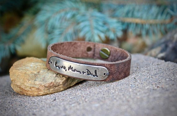 Leather Handwriting Bracelet