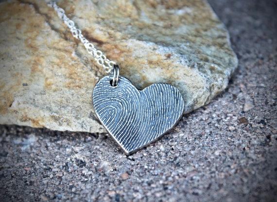 Fingerprint Heart Charm