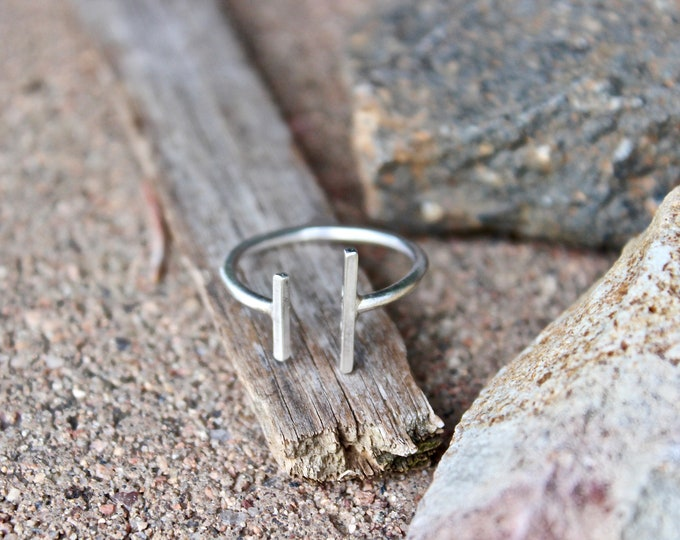 Parallel Bar Ring with an open space, Adjustable, Handmade in the USA and Sterling Silver